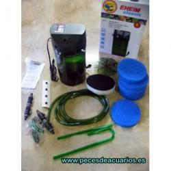 Eheim 2217 con llaves tubos y material filtrante.